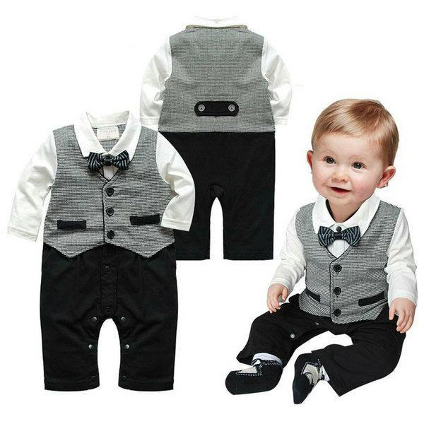 Гаджет  Cute 1pc Kid Baby Boy Cotton Gentleman Romper Jumpsuit Bodysuit Clothes Outfit 1-3T None Детские товары