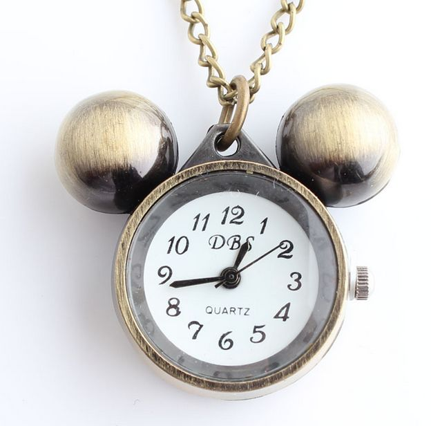 NEW POCKET WATCH Women chain necklace funny balls bells ALARM CLOCK pocket watch woman classic cartoon fantasy(China (Mainland))