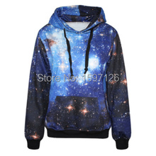 G222 spring Paisley galaxy blue women hoody space digital print Sweatshirt with hat Harajuku Pullovers Tops sport suit(China (Mainland))