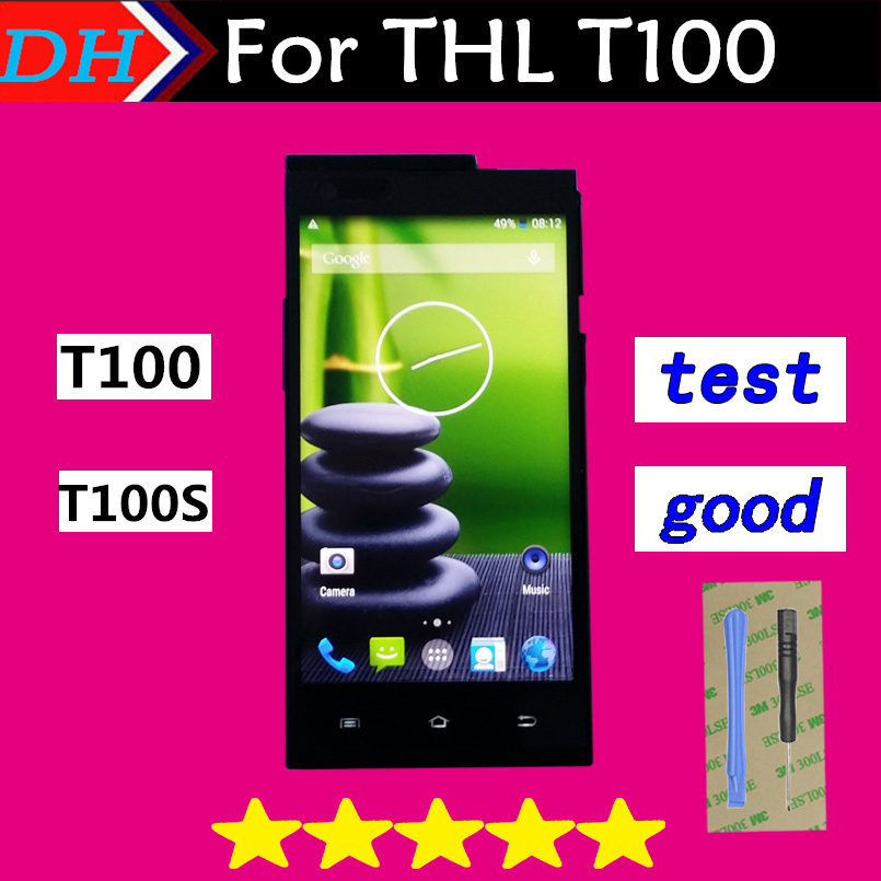 THL T100 Touch Screen Digitizer Replacement Assemble For THL T100S Touch Pane+Free Shipping Black