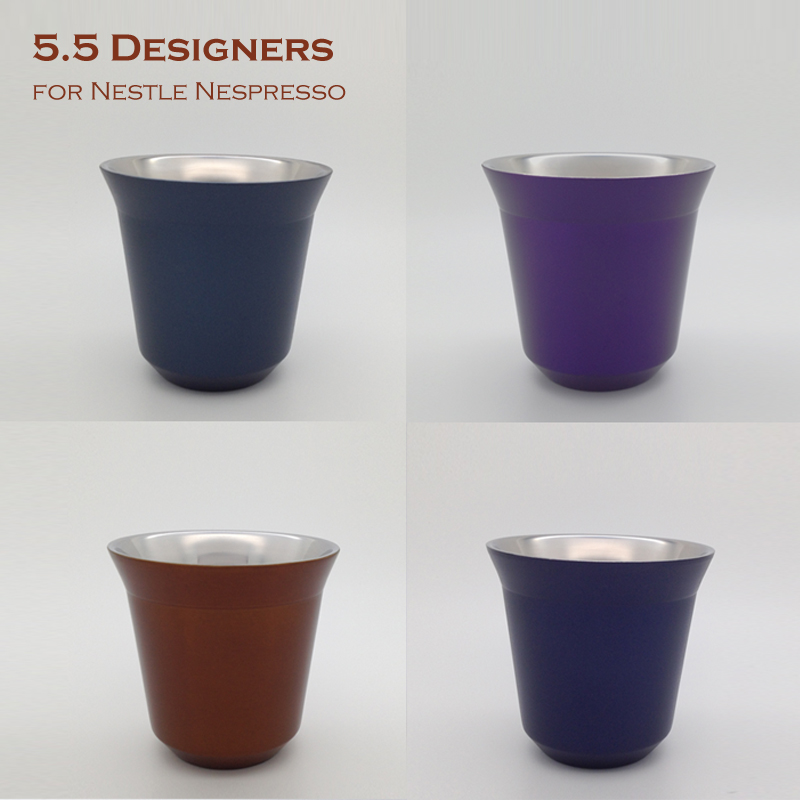 6pcs set 85ML Double Wall Espresso Cups Stainless Steel  -> Nespresso Espresso Cups
