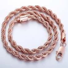 5mm 50 8cm Rope Chain 18K Rose Gold Filled Necklace Men Womens Chain Necklace High Quality