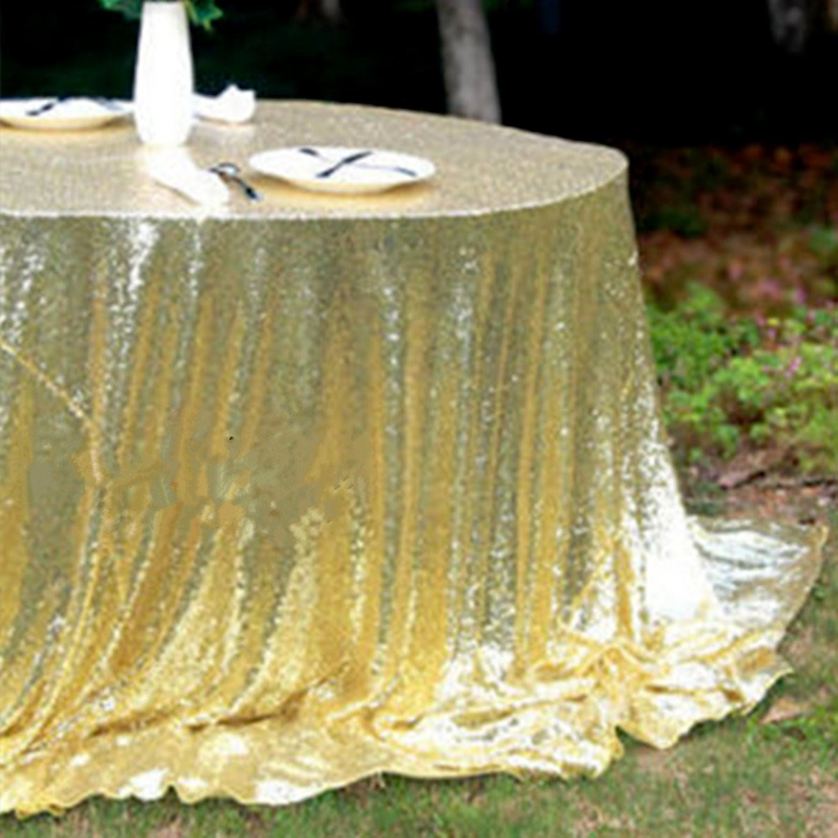 Tablecloth Sparkly Gold Champagne Sequin Glamorous Cloth Fabric For Event Table for DIY Craft Materials 128 x 115 cm(China (Mainland))