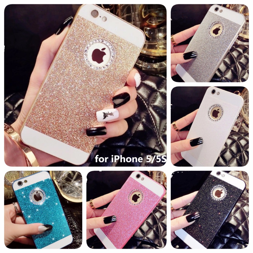 Гаджет  2015 New Shinning Logo Window Back Cover Sparkling Phone Cases for iPhone 5 5S Luxury Flash Diamond Mobile Phone Bling Cases  None Телефоны и Телекоммуникации