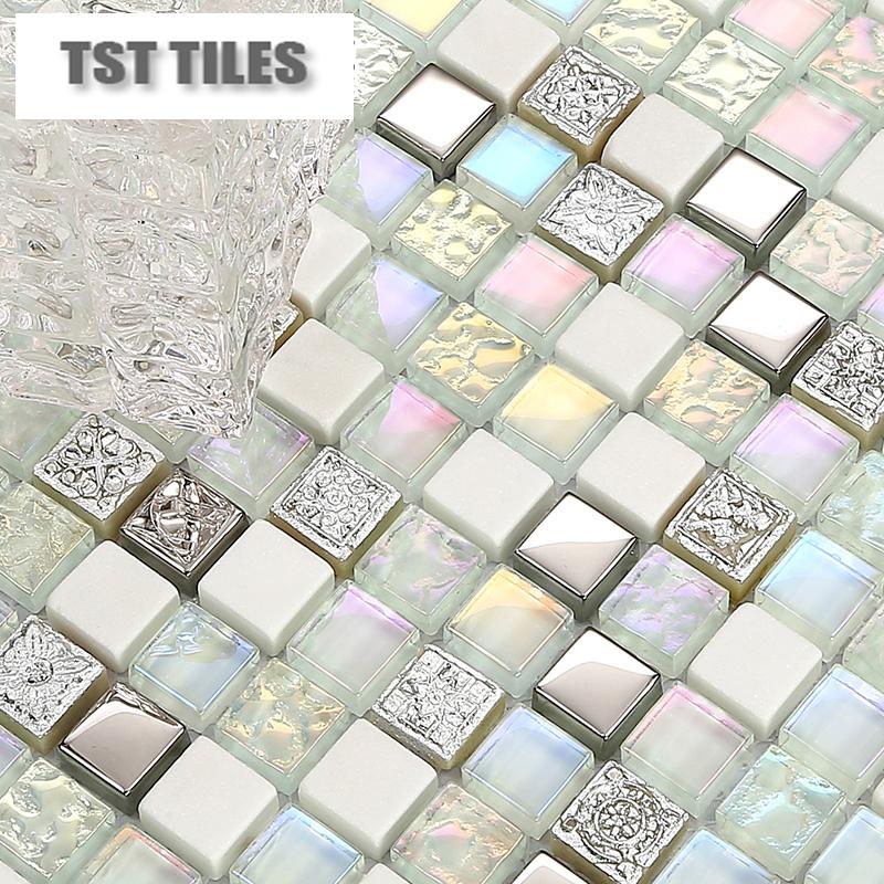 Silver mosaics white stone glass tiles kitchen backsplash mosaic art iridescent natural marble bathroom wall counter tub tiles<br><br>Aliexpress