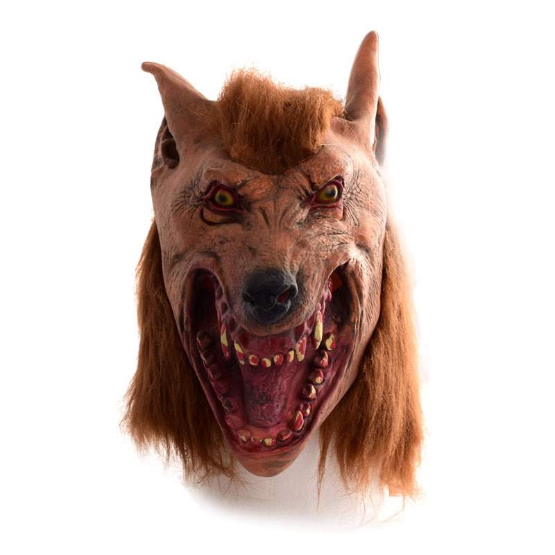Halloween brown Creepy Adult wolf head latex Rubber Mask Costume Prop Novelty nu knock - xenon30 store