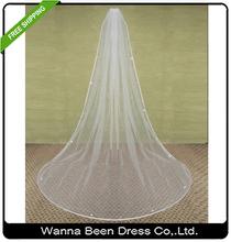 2015 Elegant Tulle And Satin Edge 2M Long Crystal Bridal Veil Wedding Accessories For Wedding Dress Wedding Veil(China (Mainland))