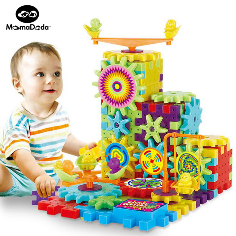 81 Pieces Electric Gears 3D Puzzle Building Kits Plastic Funny Bricks Educational Toys For Kids Toys For Children Christmas Gift(China (Mainland))