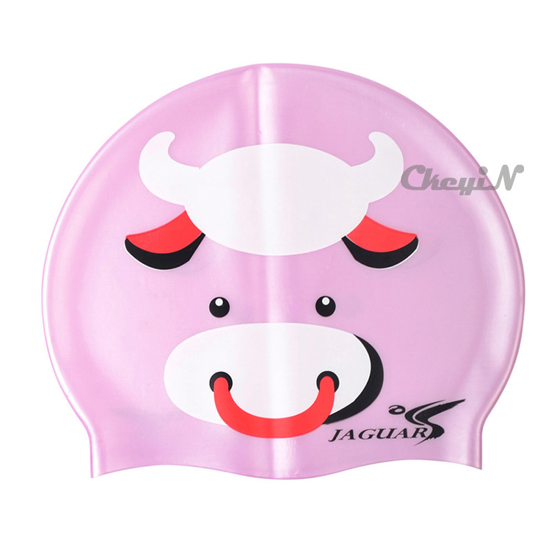 Silicone Cartoon Print Waterproof Children Kids Boys Swimming Caps Hats Family use for Water Sports YY012P-X68P(China (Mainland))