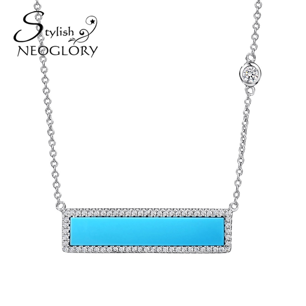 Neoglory Platinum Plated Acrylic Silver Plated Choker Necklaces Blue Pendants For Women 2016 New Gifts BN(China (Mainland))