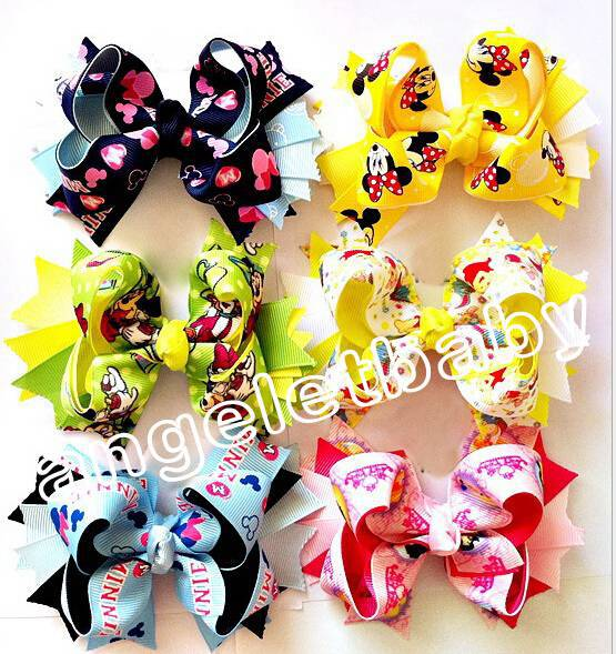 "50pcs children's cartoon hair clips baby animal 4.5"" hair bow grosgrain ribbon bows handmade ribbon Boutique HD3340(China (Mainland))"
