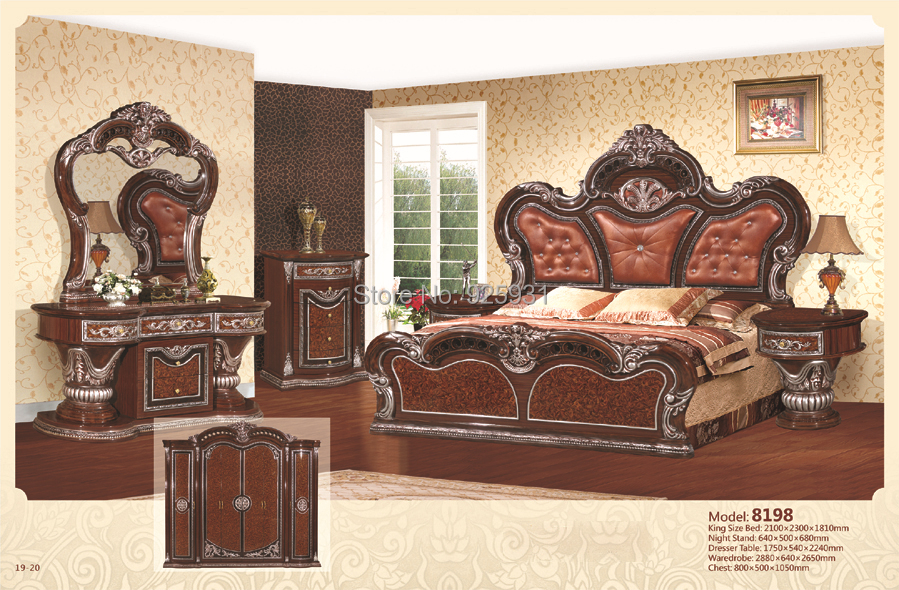 no 8198 luxury bedrom euro desgine bedroom furniture 6 pcs