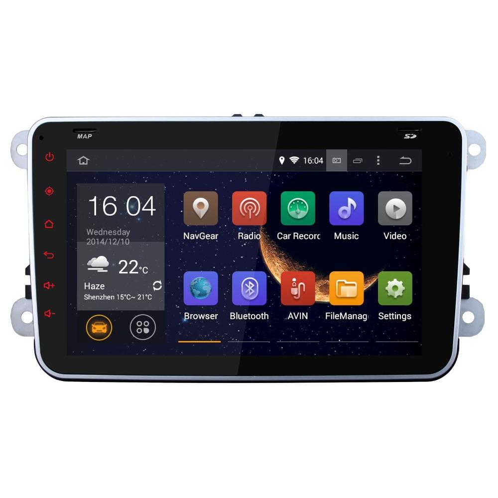support 1024*600 2 Din Android 4.4 VW Car DVD GPS Navi 1.6G CPU RAM GOLF 6 Polo Bora JETTA MK4 PASSAT B6 Tiguan SKODA OCTAVIA()