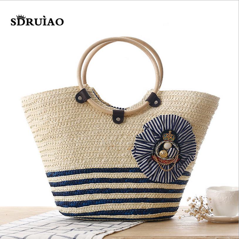 2016 Hot Sale Weave Straw Women Handbags Handmade Produce Lady Personality Tote Fashion Beach Bag Navy Stripe Shoulder Bags(China (Mainland))