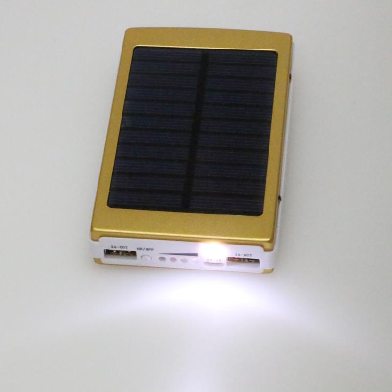 Portable Solar Power Bank 12000MAH bateria externa portatil Dual USB LED External Mobile Phone Battery Charger Backup Powerbank