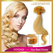 Yotchoi pre-bonded hair extensions 1g/pcs 100pcs/set dark blonde colour 613# body wave karetin U tip 100% human hair extensions(China (Mainland))