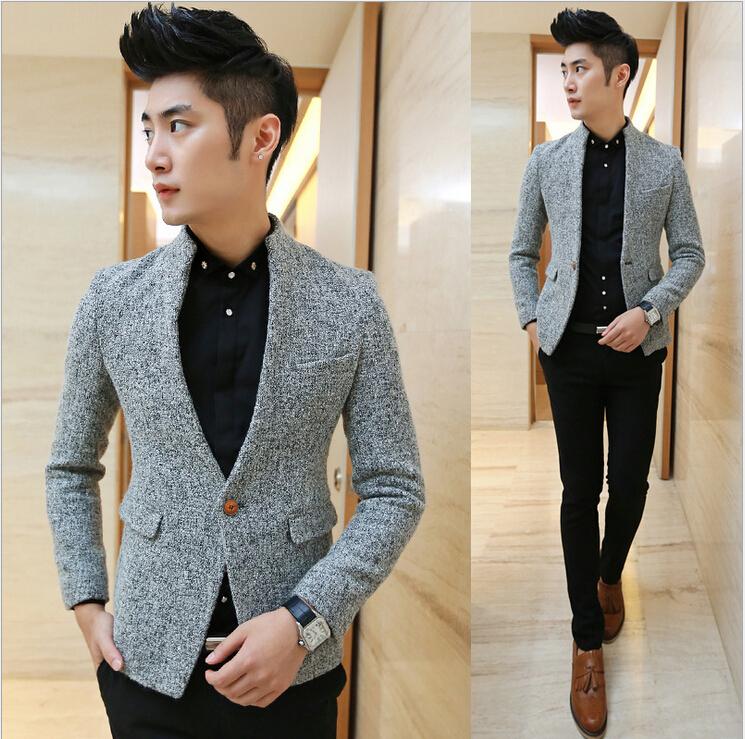 Free Shipping Elegant Slim Fit Winter Blazer Men Thickening Woolen Fashion Secret Pocket Casual