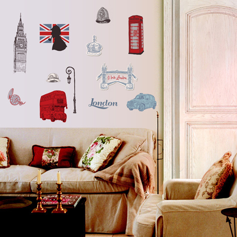 1pcs London City Wall Sticker Vinyl Decals Bedroom Living Room Home Accessories Wallpaper Poster vinilos paredes vinilo pared(China (Mainland))