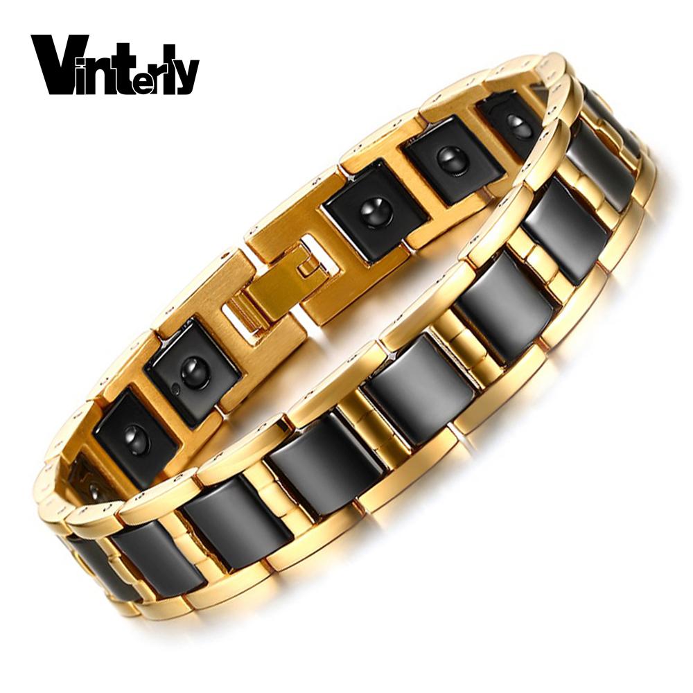 Vinterly Healing Energy Magnetic Hematite Bracelet Bangle Gold Color Stainless Steel Hand Chain Link Black Ceramic Bracelet Men(China (Mainland))