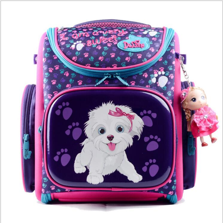 New 2016 Fashion Brand Cartoon Dogs Cute Bear Girls School Bags Waterproof Foldable Orthopedic School Backpacks Kids Bolsas
