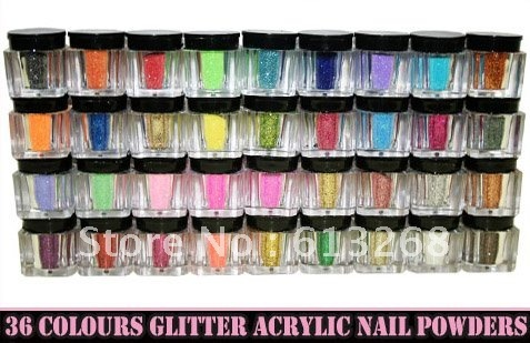 36 Colours Glitter Acrylic Powder Dust For Nail Art Tips wholesale Freeshipping