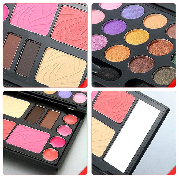Free Shipping Eyebrow Cream Powder Cake Lip Gloss Cheek Blush Eyeshadow Make Up Kit Combo K5BO(China (Mainland))