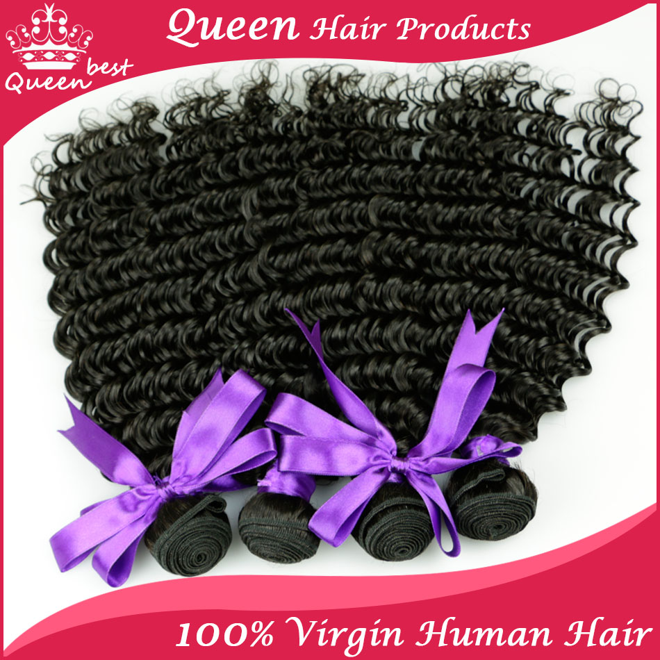 Гаджет  Peruvian Human Hair Weave Ali Queen Beauty ltd Virgin Hair Weft Deep Curly Bundles Remy Hair Deep Wave 4 Bundles Lot  100g Each None Волосы и аксессуары