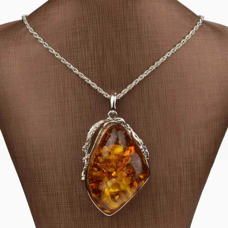 Hot Sale Silver Plated Necklace For Women Big Drop Resin Long Necklace Faux Amber Chain Pendant