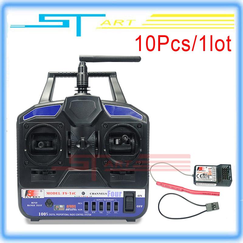 10Pcs Flysky FS-T4C FS-T6B 6CH 2.4G RC Transmitter Radio Model &amp; Receiver For Quadcoter / Airplane PK FS-CT6B FS-T4B Wholesale<br>