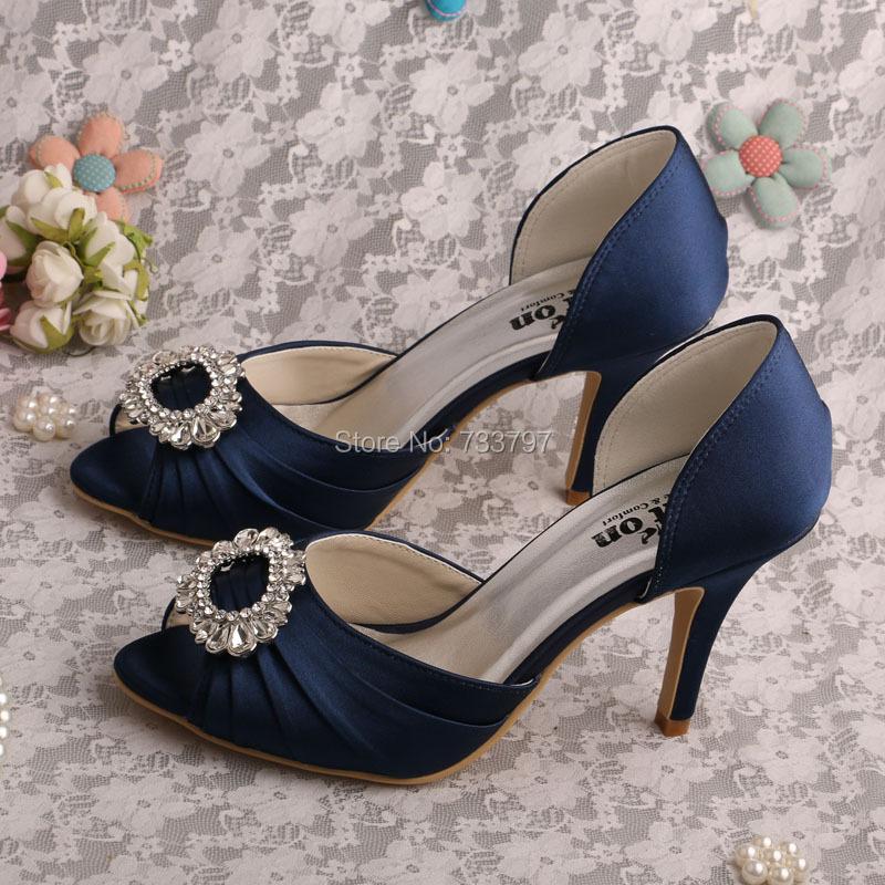 Name Brand Women Dark Blue High Heel Shoes Wedding Bridal Peep Toe Pumps Free Shipping<br><br>Aliexpress