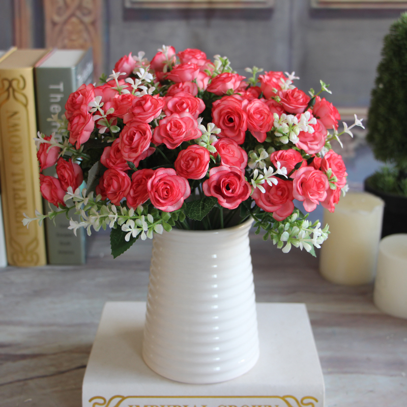 Artificial Silk Flower 15 Buds 1 Bouquet Pretty Charming Delightful Mini Rose Bride Bridal Home Decal ramantic warm home(China (Mainland))