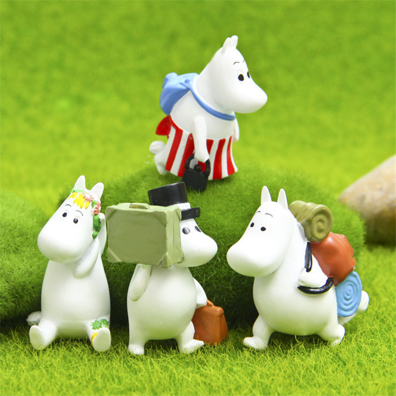Cute Anime Happy Couple Moomin Hippo Resin Figure Model Toys Dolls Micro Landscape Decor Kids Gift 4pcs/lot(China (Mainland))