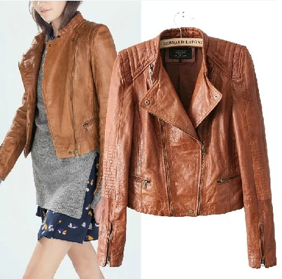 High Quality Womens Brown Faux Leather Jacket-Buy Cheap Womens ...