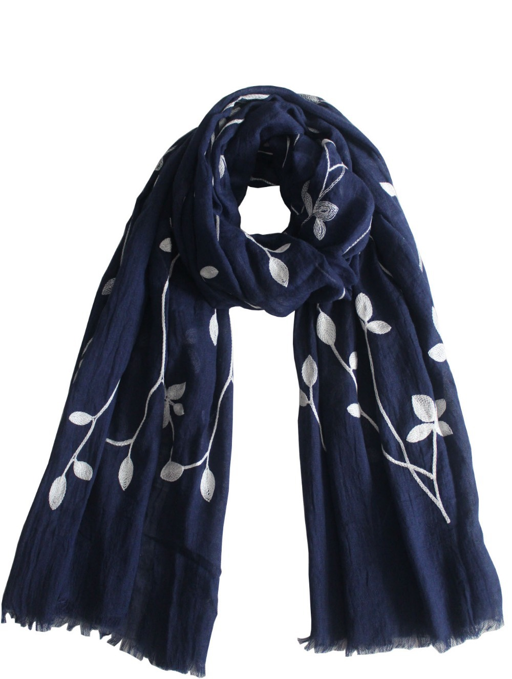 2015 New Fashionable Women Cotton Embroidery Floral Pattern Long Scarfs Shawls For Women Ladies(China (Mainland))
