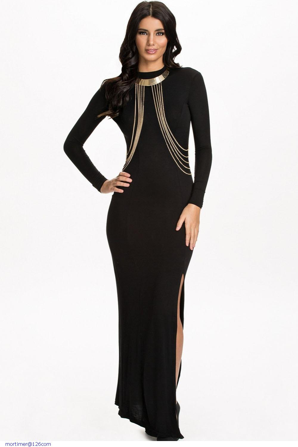 Black Formal Gown Fashion Women Party Dresses Chain Embellished Long Sleeve Maxi Evening Dress