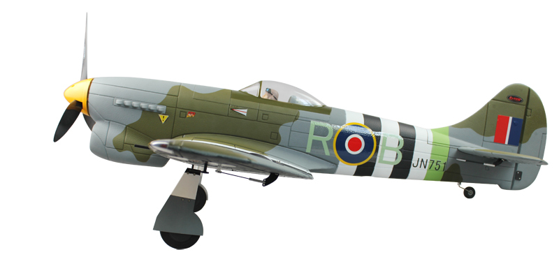 Dynam RC scale model airplane electric brushless power warbird 2.4Ghz RTF Hawker Tempest EPO-1250mm(China (Mainland))