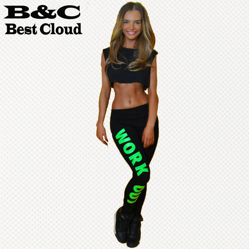 2015 fitness Workout Women's Leggings Pencil Fitness Work out Blogger Alphabet print Pants sports legging women leggins(China (Mainland))