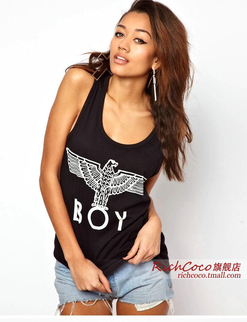 Free Shipping richcoco Women Sexy Black Camis Cotton Jersey Vintage Sleeveless O-Neck Classic Eagle BOY Print Casual Tank vest(China (Mainland))