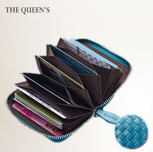Luxury Plaid Woven Sheepskin Card Holder Organizer Woman Genuine Leather Short Wallet Fashion Credit ID Business Case Coin Purse(China (Mainland))