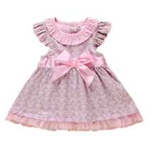 Princess Baby Girls Dress Foral Summer Girl Dresses Top Quality 100%Cotton Bow Infant Dress for Toddler Clothing(China (Mainland))