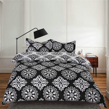 Sookie Black&White 3 Pieces Bedding Sets Scattered flowers Duvet Cover Set Pillow Cases King Comforter Cover(China (Mainland))