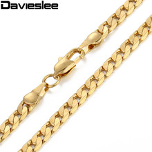 Buy 5mm Mens Chain White Rose Yellow Gold Filled Necklace Womens Cut Flat Curb Link Wholesale Customized Necklace Jewelry LGNM89 for $2.99 in AliExpress store