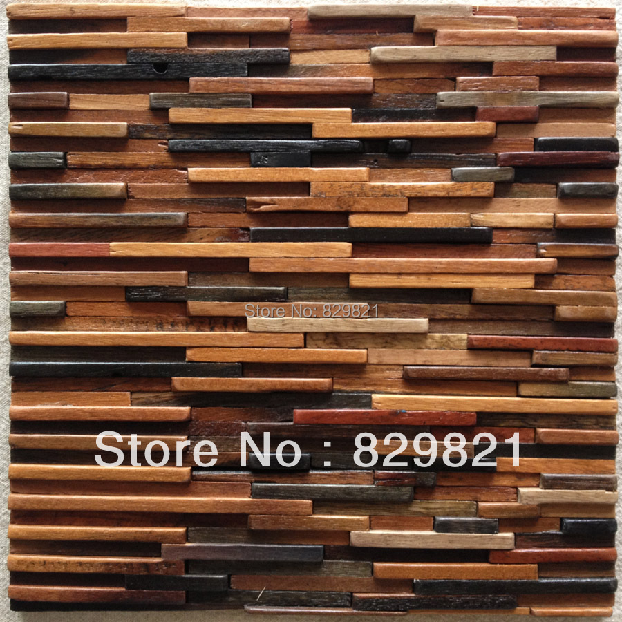 DHL Freeship Natural Wood Mosaics Tile TV Kitchen Background Wall Solid 3D Wall Panel Board Strip Home Improvement papel pintado