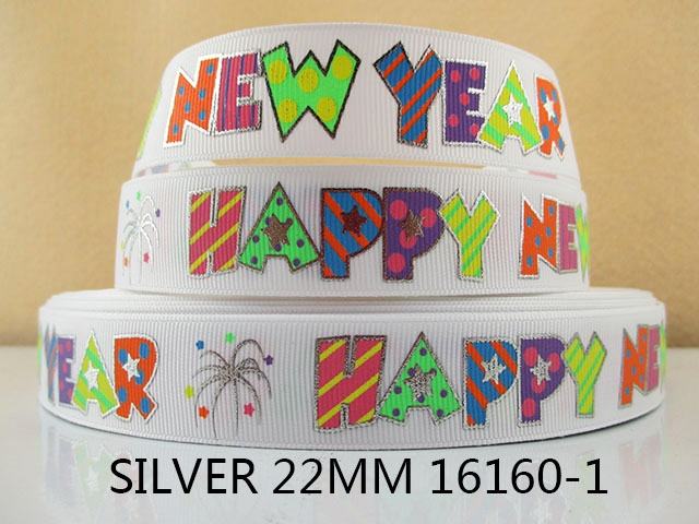 "5Y16160 free shipping 7/8"" silver happy new year polyester printed Grosgrain ribbon diy headwear gift sewing supplies(China (Mainland))"