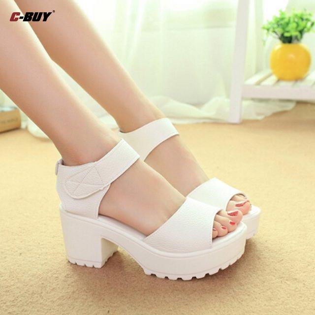 Zapatos zapatos mujer verano zapatos de tacón alto gruesas sandalias de tacón de Color negro Fashio plataforma blandas sandalias de la PU Z5