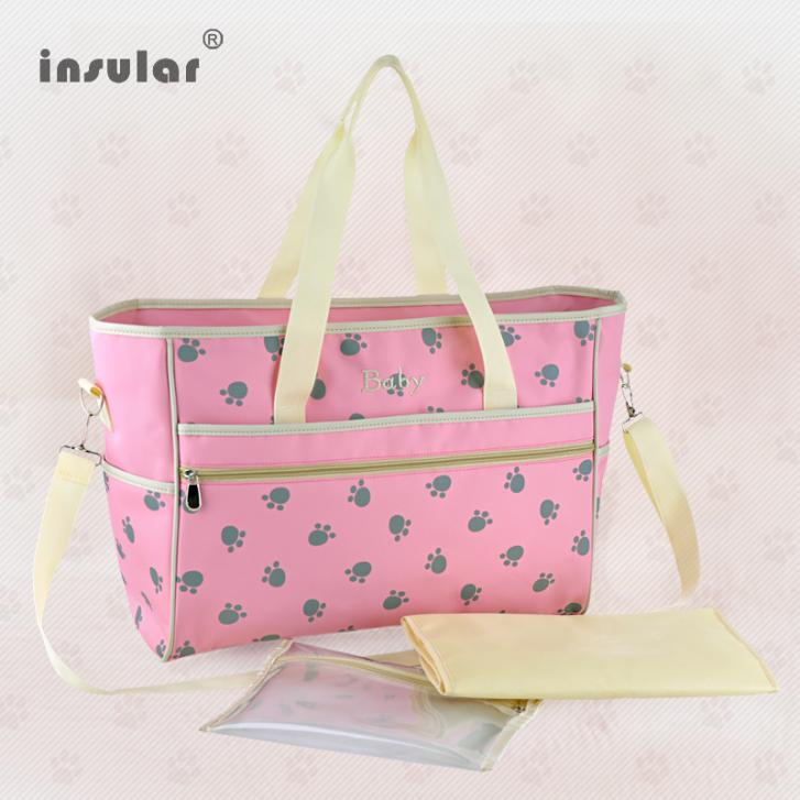 Hot Sales Fashion Brand Candy 4 Color Women's Nappy Bags Paws Printed Mommy Bags Waterproof Baby Diaper Bags(China (Mainland))