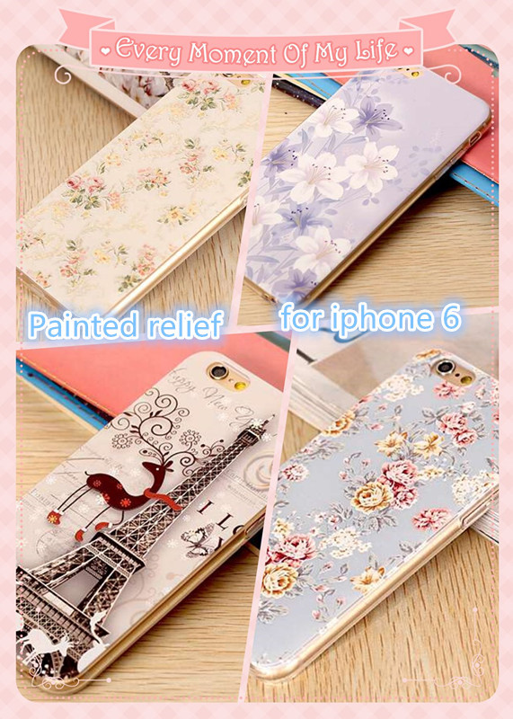 Luxury Floral Pattern 3D Relief embossing soft case For iPhone 6 4.7 inch cover Case Flower Cell Phone Case Cover(shiji003)(China (Mainland))