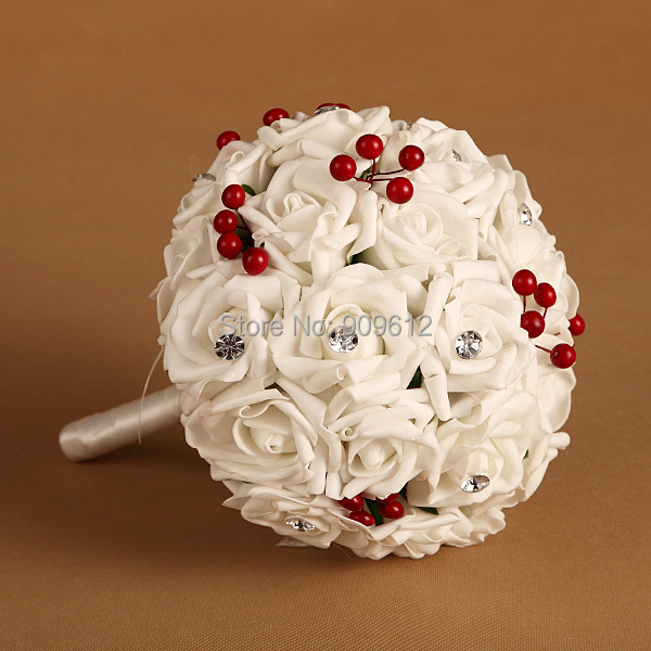 2015 Custom Hand Made White Artificial Rose Flowers Rhinestone Cherry Silk Hydrangea Bridal wedding bouquet accessories - Faybox Wedding Accessories store