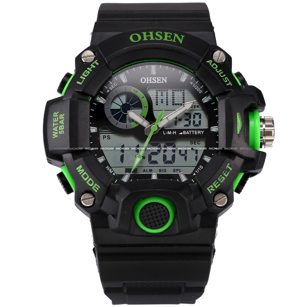 OHSEN Men Quartz-Watch LCD Waterproof Alarm Auto Date Display Rubber Strap Relogio Green Digital Sport Military Watch / OHS220(China (Mainland))
