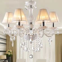 6 Bulbs Modern Style European White Crystal Living Room Lamps Lighting Lamp Candle Crystal Pendant Light 22(China (Mainland))